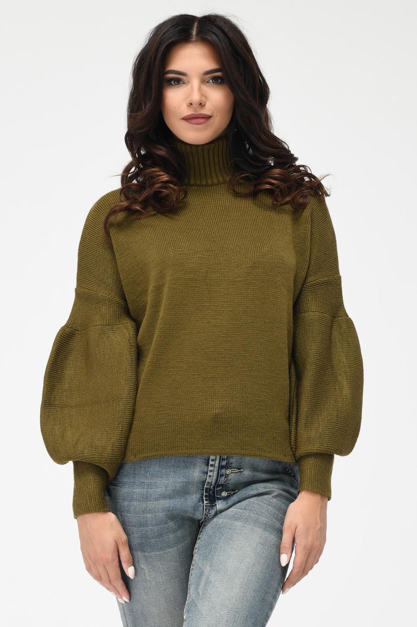 Теплый вязаный свитер под горло хаки