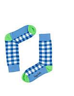 """Носки хлопковые синие """"Клетка"""", фото 1"""