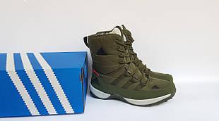 Високі жіночі зимові черевики Adidas,темно зелені,на хутрі 38р