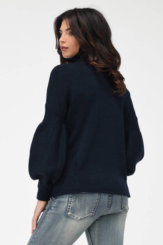Теплый вязаный свитер под горло темно-синий, фото 2