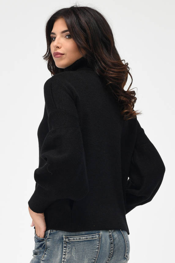 Теплый вязаный свитер под горло черный, фото 2
