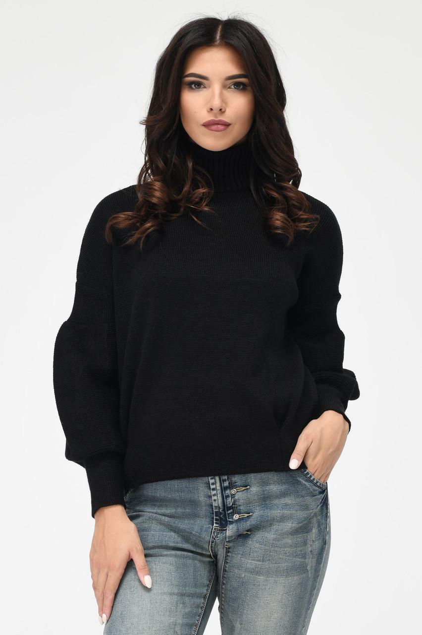 Теплый вязаный свитер под горло черный