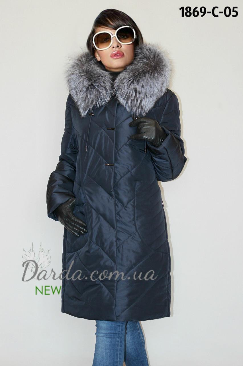 3e9b18fc91a Пальто женское с мехом чернобурки зимнее больших размеров Damader 1869-С -  Интернет-магазин