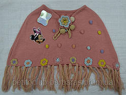 Накидка вязанная для девочки Микки Маус коралловая 4-8 лет (Ugur, Турция)