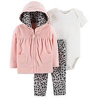 Трикотажный комплект тройка с велюровой кофтой для девочки Carters розовая пантера