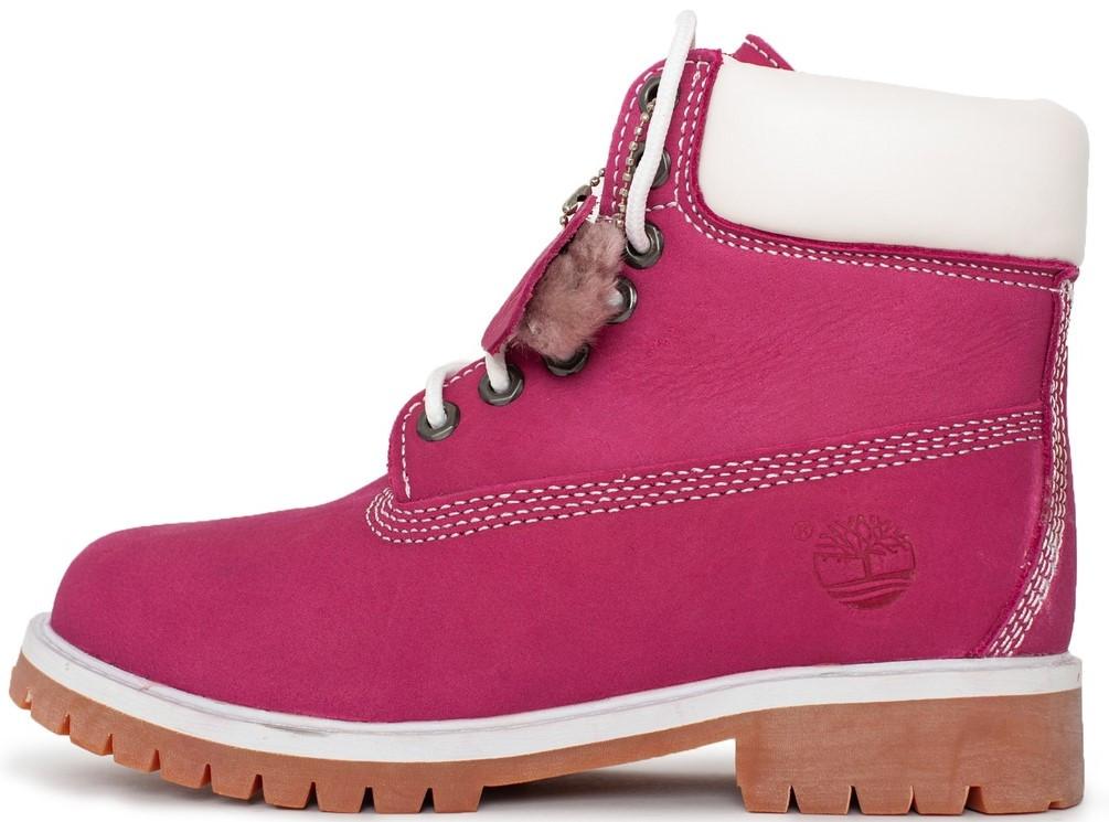 """Женские ботинки Timberland """"Pink"""" (Тимберленд) с мехом"""