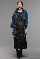Пальто черное с джинсовыми вставками Alberto Bini 5008