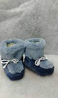 Детские меховые сапожки домашние Бирюзовые с светло-синим