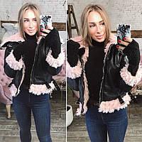 Кожаная куртка-косуха с розовым мехом