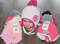 Зимняя шапка на флисе  для девочки обьем 44-46