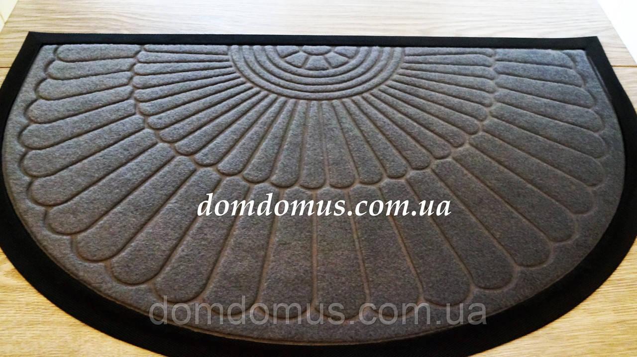 Коврик придверный полукруглый 50*80 см серый, Китай