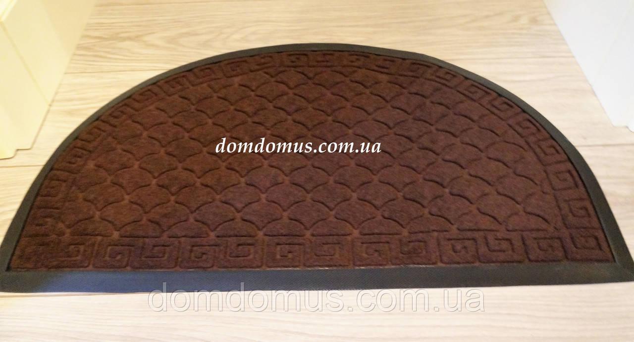 Коврик придверный полукруглый 40*60 см коричневый, Китай