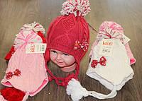 Зимняя шапка на флисе  для девочки обьем 46-48