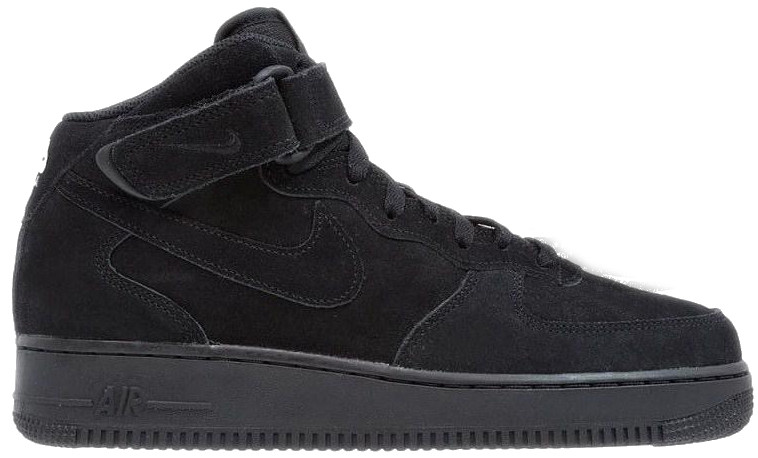 Мужские зимние кроссовки Nike Air Force 1 Mid 'Black' (Найк) с мехом