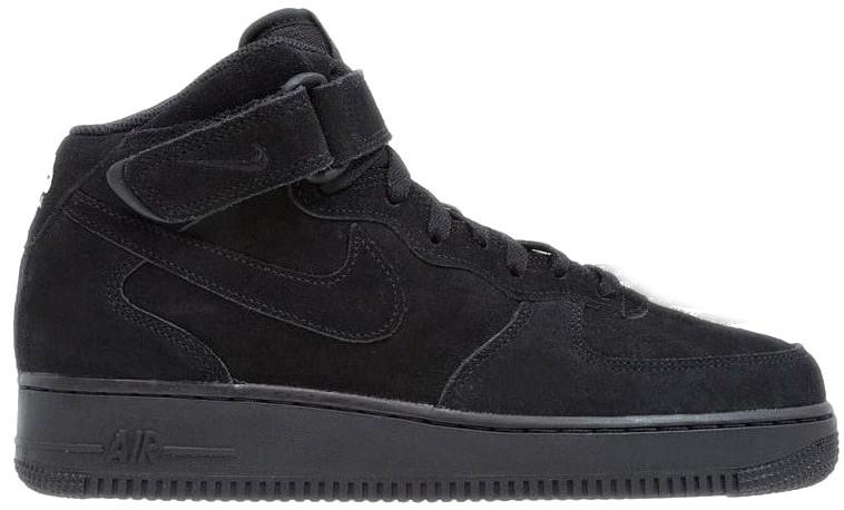 3dd13aa9 Мужские зимние кроссовки Nike Air Force 1 Mid 'Black' (Найк) с мехом ...