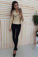 Стильная женская куртка косуха золотистого оттенка