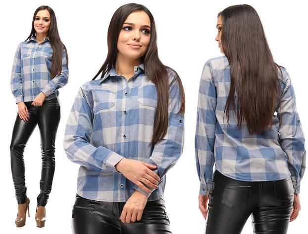 Рубашка женская, голубая с серым, фото 2