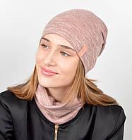 """Подростковый комплект """"Джерси""""(шапка+хомут) GR-18016 Пудра, фото 1"""