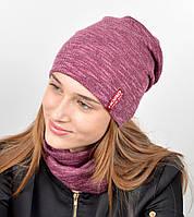 """Подростковый комплект """"Джерси""""(шапка+хомут) GR-18016 Бордо, фото 1"""