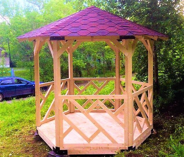 Беседка шестигранная деревянная 4,4 м2