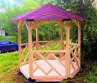 Шестигранная сборная беседка из дерева 4,4 м2 дачная недорого от производителя Wood Gazebo 005