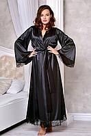 Атласный халат в пол с кружевом шантильи Черный. Размеры от XS до XL, фото 1