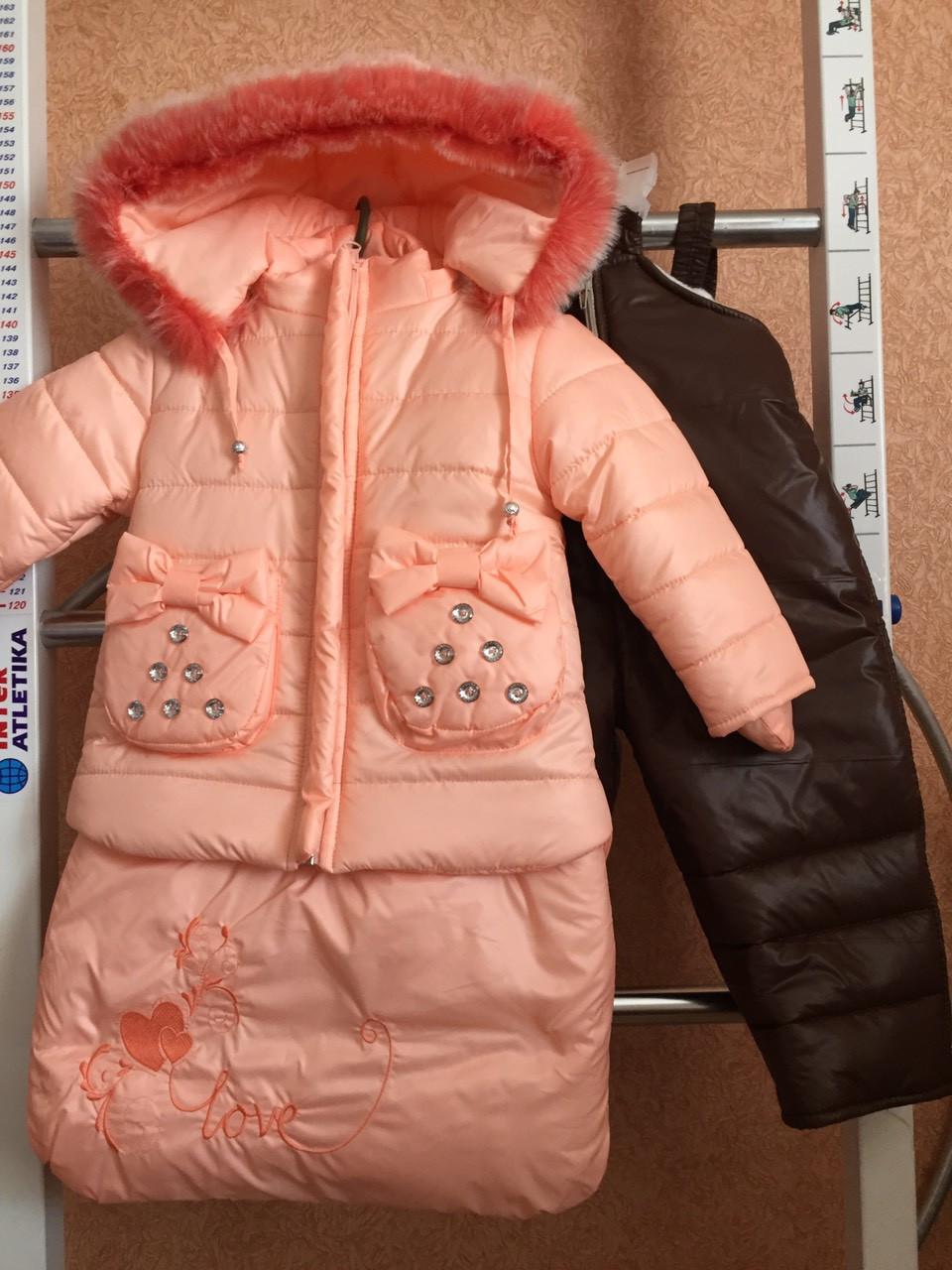 Тепла зимова куртка і комбінезон трійка на дівчинку 74-86.