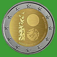 Эстония 2 евро 2018 г. 100 лет Эстонской Республике. UNC