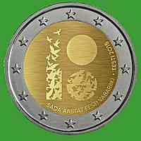 Естонія 2 євро 2018 р. 100 років Естонській Республіці. UNC