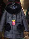 """ХИТ! Детское зимнее пальто с мутоном """"Сердечки"""" Размеры 32- 38, фото 3"""