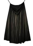 Черный готический плащ с капюшоном 130 см накидка на хэллоуин  - карнавальный костюм