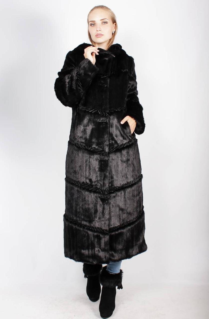 Женская черная шуба под норку, длинная 42,44,46,48,50,52,54,56