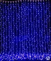 "Новогодняя гирлянда  LED занавес ""дождь""  2х2,5 метра белая синяя цветная"