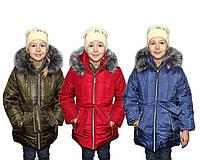 Пальто дитяче зимовий на овчині для дівчинки Поясок, фото 1