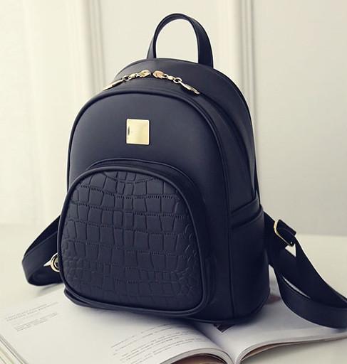 Жіночий рюкзак міський міні під рептилію чорний