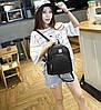 Женский городской мини рюкзак под рептилию черный - Фото