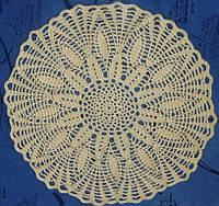 Салфетка, песочного цвета, круглая, вязаная крючком, ручная работа Прекрасный подарок на 8 марта женщине., фото 1