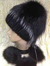 Меховая шапка из норки и песца чёрного цвета на вязанной основе