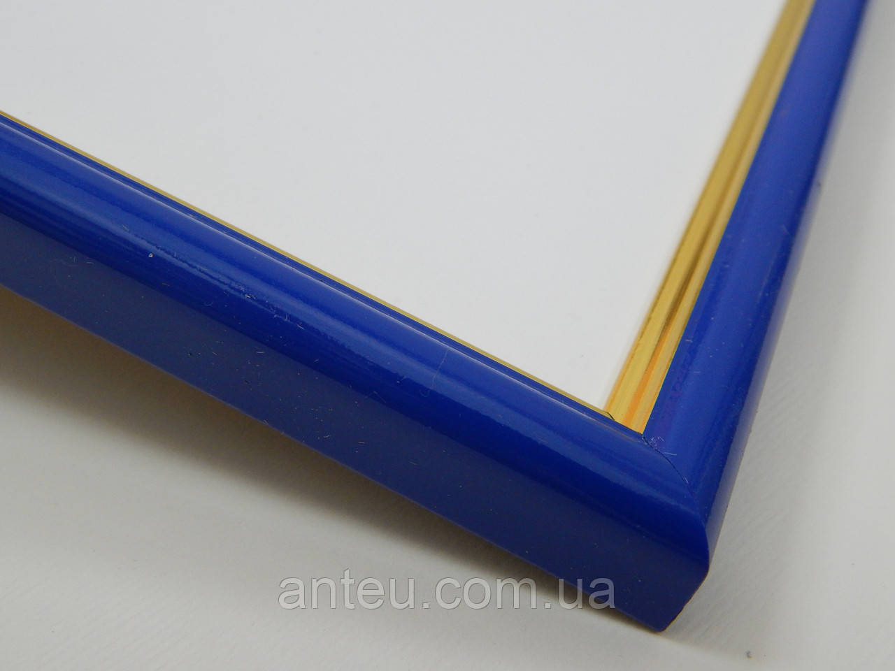 Рамка А4 (210х297).Рамка пластиковая 14 мм.Синий с золотой окантовкой