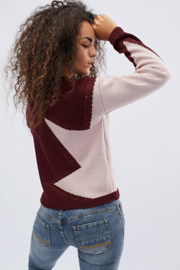 Женский свитер с узором бордовый, фото 2