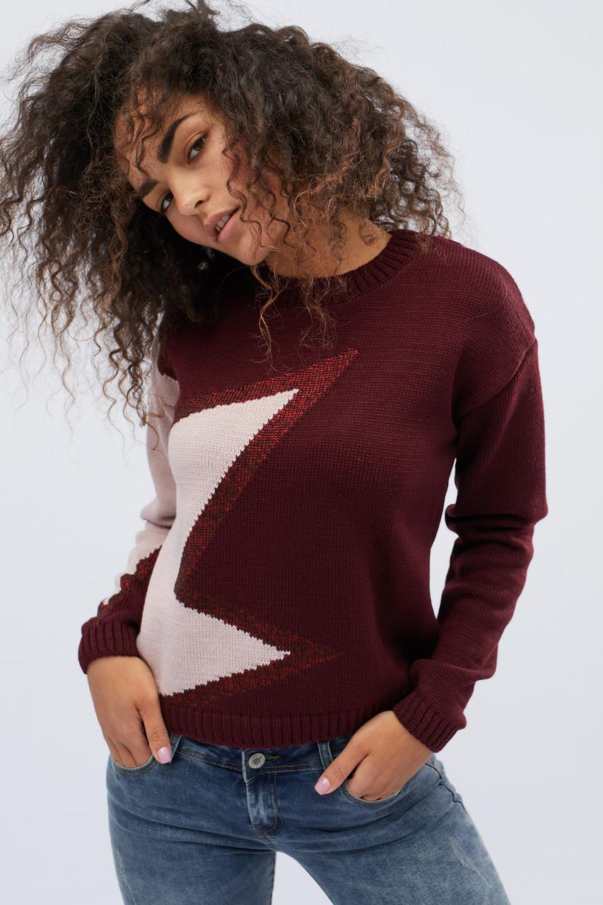 Женский свитер с узором бордовый