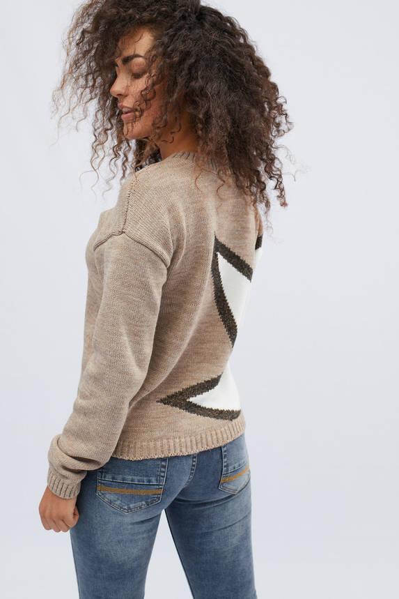 Женский свитер с узором бежевый, фото 2