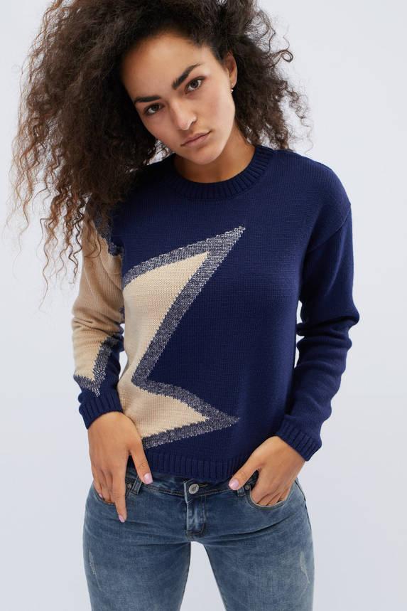 Женский свитер с узором синий, фото 2