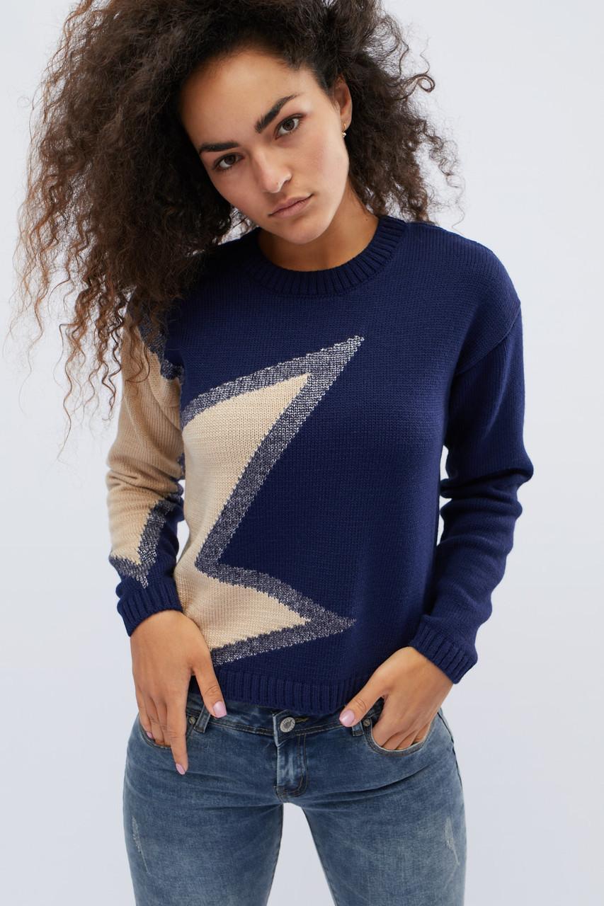 Женский свитер с узором синий