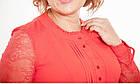 Блуза женская нарядная красная шелковая с гипюром большого размера 60, фото 2