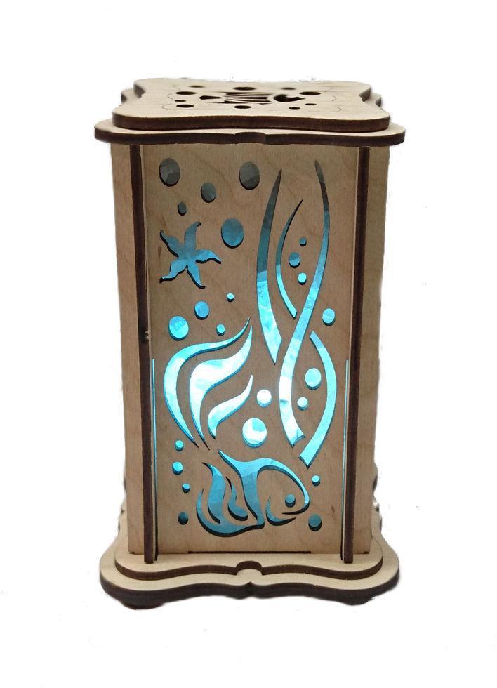 """Соляной светильник деревянный """"Водный мир маленький"""""""