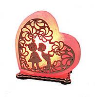 Соляной светильник сердце мальчик с девочкой