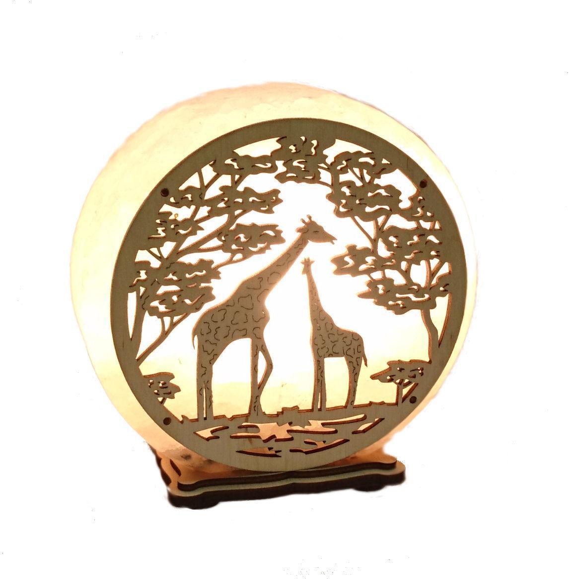 Соляной светильник круглый жирафы
