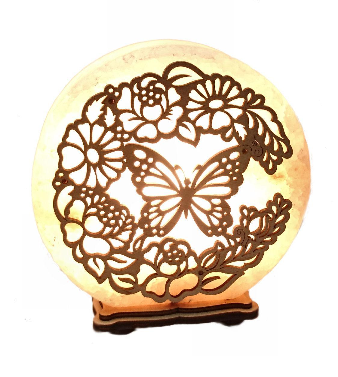 Соляной светильник круглый бабочки в цветах