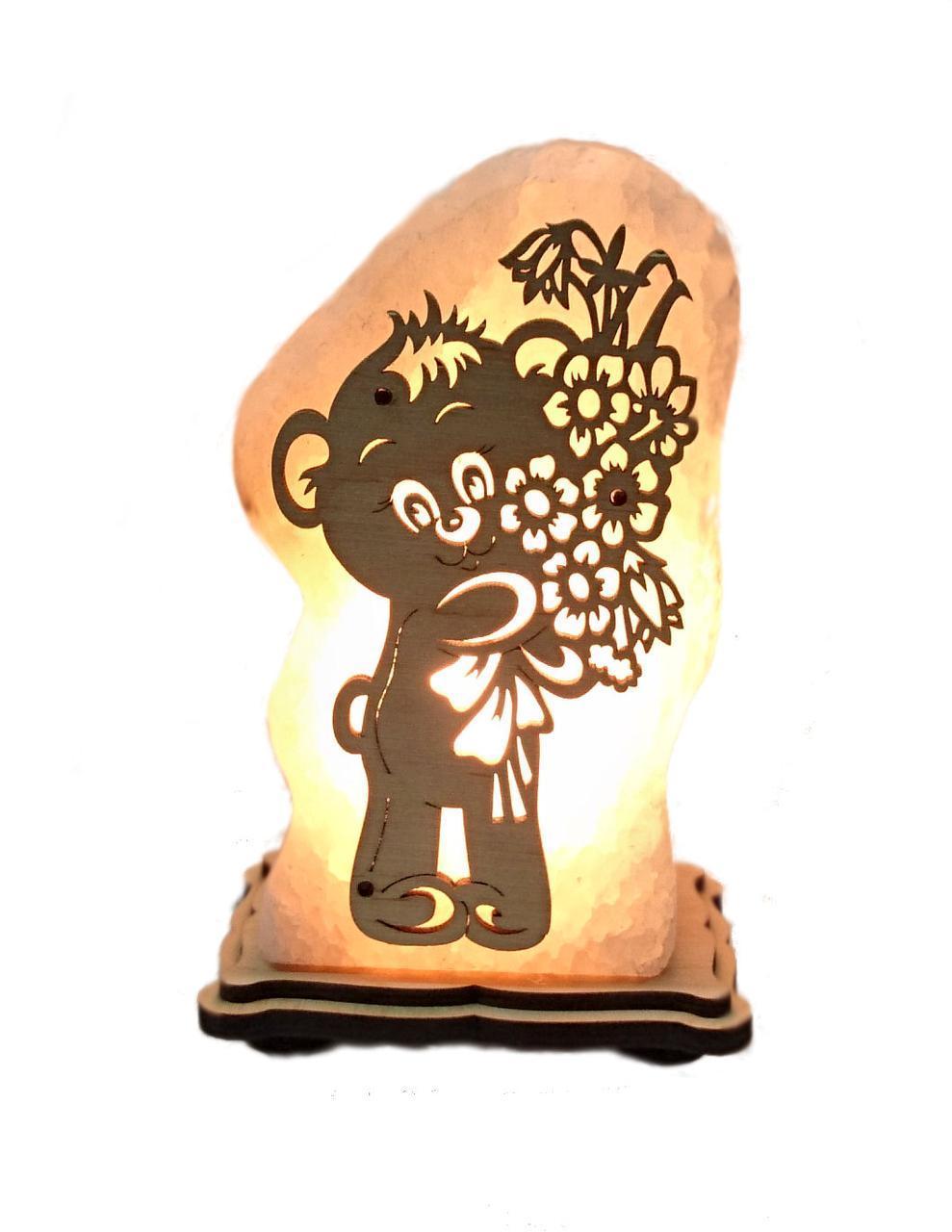 Соляной светильник Мишка с цветами